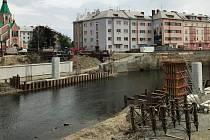 Protipovodňová opatření u Bristolu v centru Olomouce - začátek května 2019