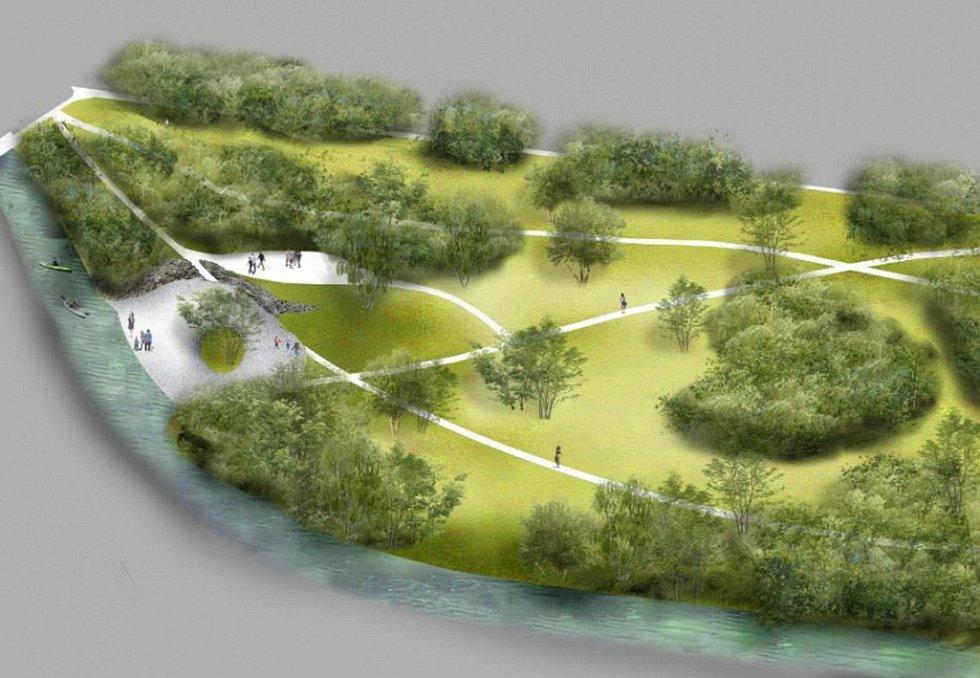 Vizualizace parku Na Dlouhé v Olomouci - varianta s upraveným přístupem k potoku