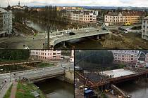 Nový most u Bristolu po zprovoznění 27. února 2020 (nahoře), starý most před bouráním v květnu 2018 (vlevo dole) a betonáž nového mostu v červenci 2019