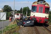 Srážka vlaku s felicií ve Velké Bystřici