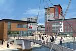 Práce studia Benoy: St Anne's Wharf, Norwich, Velká Británie – bytový komplex u řeky s obchody a volnočasovými aktivitami
