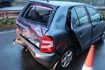 Nehoda u kruhového objezdu u Globusu v Olomouci, 5. 10. 2020