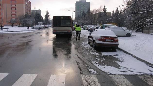 Podle svědků nedělní dopravní nehodu v Kmochově ulici v Olomouci měl způsobit pes, který vběhl na přechod ve chvíli, kdy tam projížděl autobus.