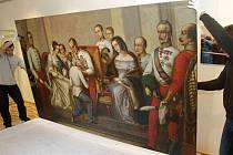 Do Arcibiskupského paláce dorazil vzácný obraz uvedení Františka Josefa I. na trůn v Olomouci