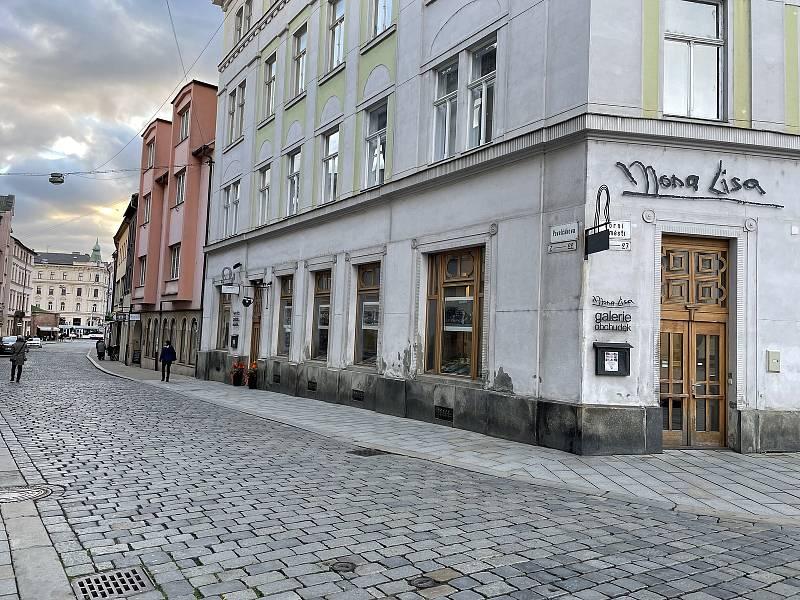 Pavelčákova ulice, ústí z Horního náměstí. 13. října 2021