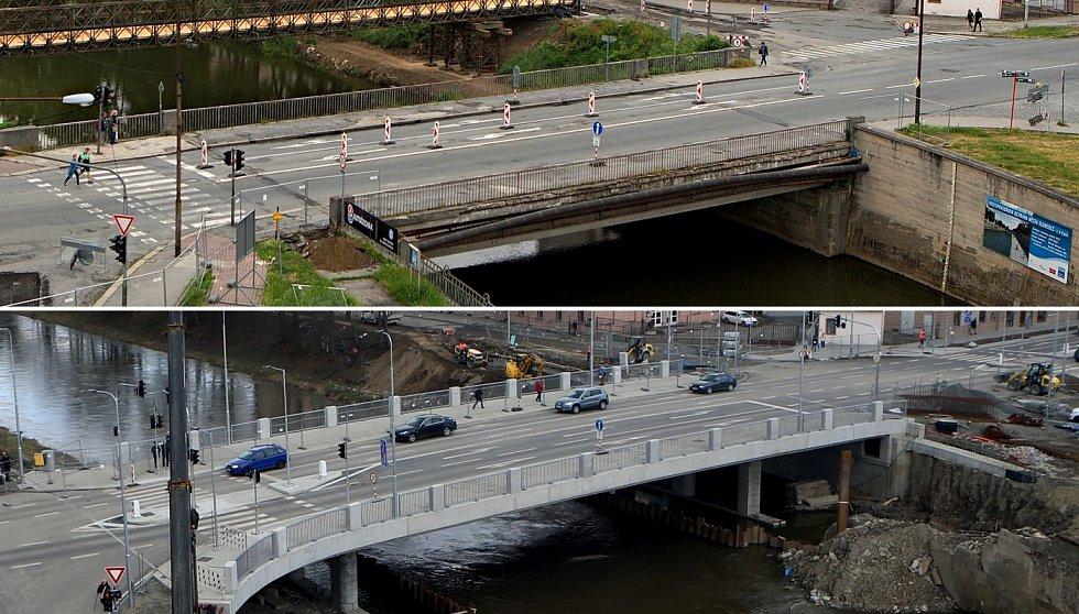 Starý most u Bristolu před bouráním v květnu 2018 (nahoře) a nový most po zprovoznění 27. února 2020 (dole)