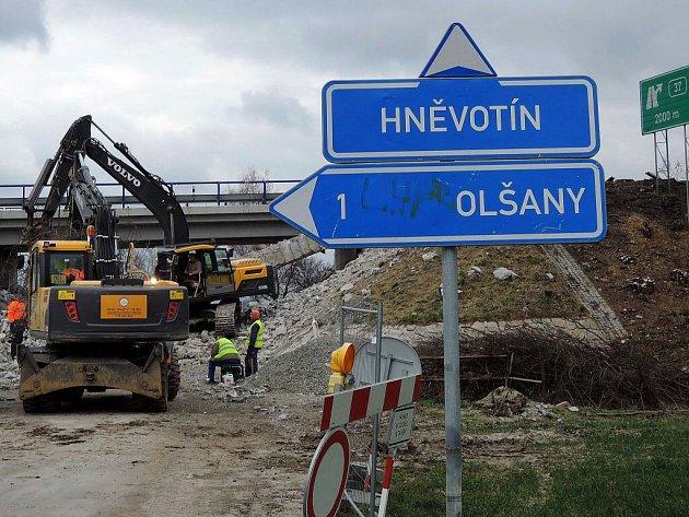 Oprava mostu na R46 mezi Bystročicemi a Olšany u Prostějova