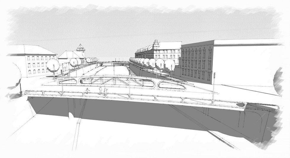 Návrh přestavby mostu na Msarykově třídě v Olomouci