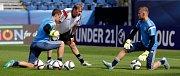 Trénink německé jednadvacítky před semifinále na Andrově stadionu