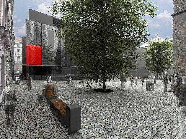 Vizualizace přestavby olomouckého Prioru a prostoru před kostelem sv. Mořice. Zdroj: Ateliér R