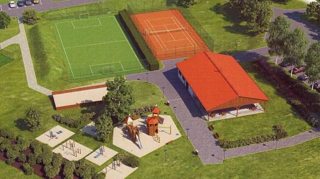 Vizualiazce sportovního areálu v Bouzově