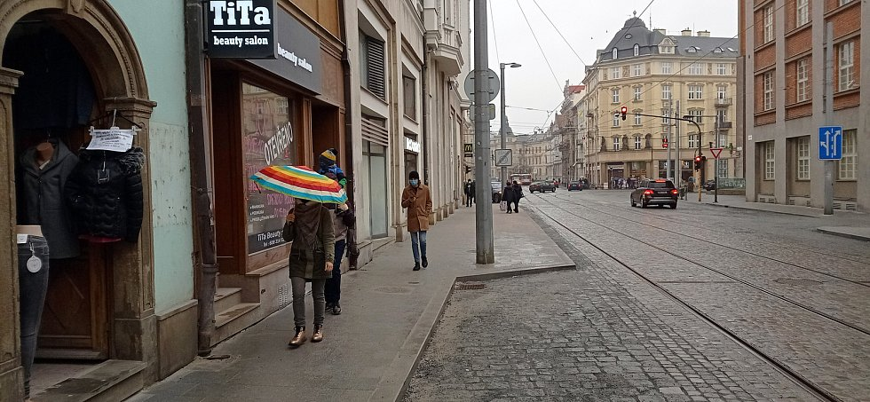 Zrekonstruovaná ulice 8.května v Olomouci, prosinec 2020