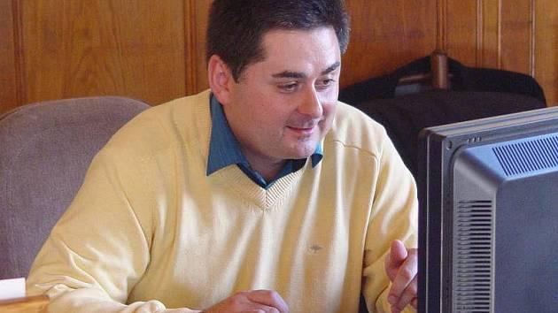 Primátor Martin Novotný při on-line rozhovoru pro Olomoucký deník
