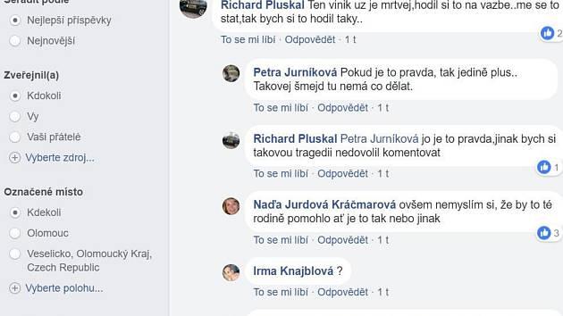 Diskuse na Facebooku o tragické nehodě v Olomouci-Holici