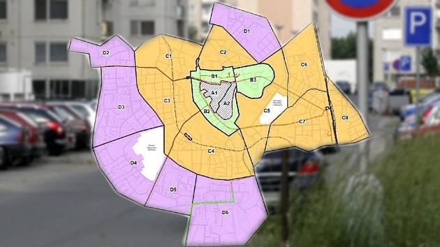 Návrh nových parkovacích zón v Olomouci. Ilustrační koláž.