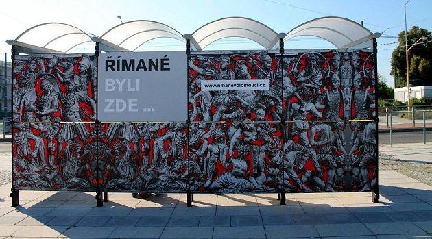 Konečná zastávka tramvaje volomoucké čtvrti Neředín připomínající pobyt římských vojáků