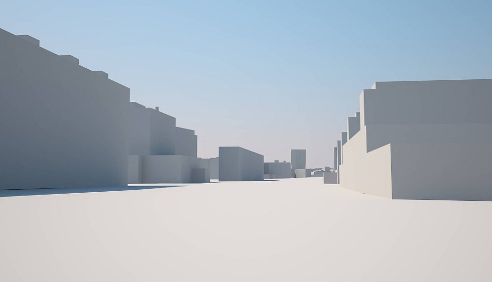 Pohled od třídy Kosmonautů. Šantovka Tower na modelu Klubu architektů Olomoucka: