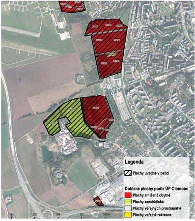 Neředínský horizont vúzemním plánu Olomouce