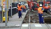 Oprava tramvajové trati v Olomouci. Ilustrační foto