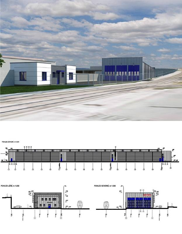 Vizualizace odstavné haly pro tramvaje u olomouckého hlavního nádraží
