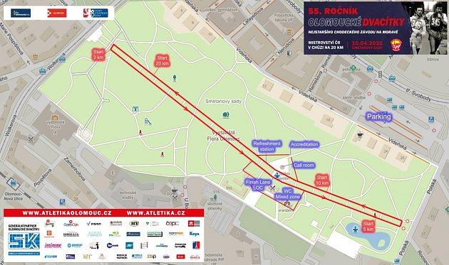 Mapa trati chodeckého MČR 2021ve Smetanových sadech vOlomouci