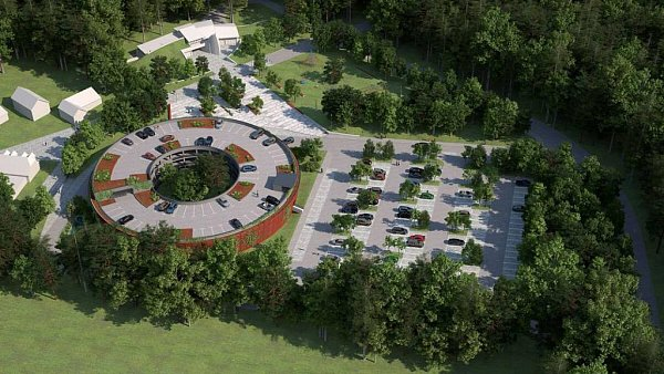 Vizualizace parkovacího domu uvstupu do zoo na Svatém Kopečku. Zdroj: MmOl