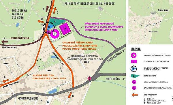 Umístění parkovacího domu a nová cesta kzoo. Zdroj: MmOl