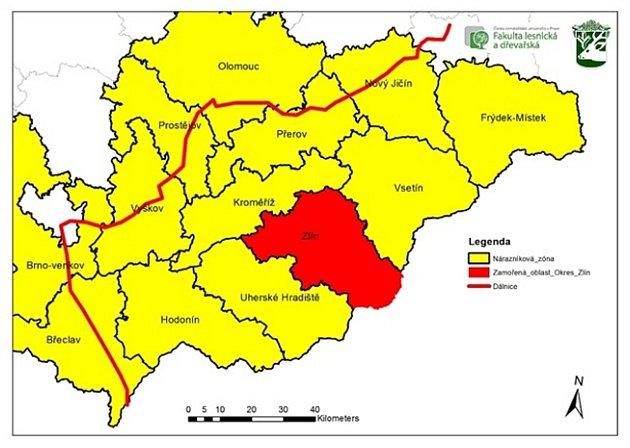 Intenzivní lov divoké zvěře umožňují mimořádná veterinární opatření včásti Olomouckého kraje. Území je ohraničeno D 46a D35.