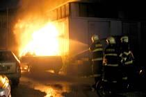 Požár auta ve Foerstrově ulici v Olomouci