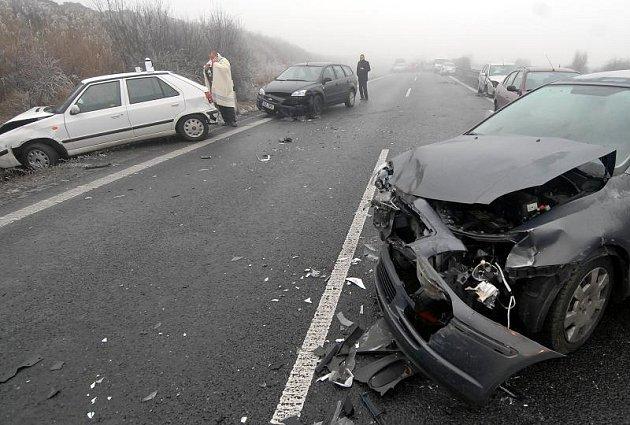 Hromadná nehoda na dálnici Olomouc - Prostějov.
