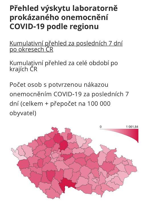Kumulativní přehled za 7 dní v okresech ČR