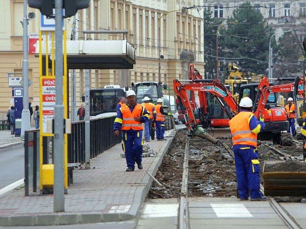 Opravy tramvajové trati na třídě Svobody v Olomouci. Ilustrační foto