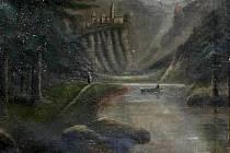Padělek obrazu Alpská krajina s hradem od Caspara Davida Friedricha