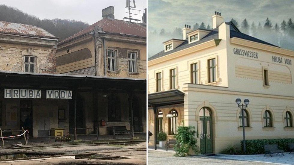 Někdejší secesní perla je v kritickém stavu. Olomoucký podnikatel pracuje po koupi nádraží na jeho obnově a oživení - vpravo vizualizace proměny