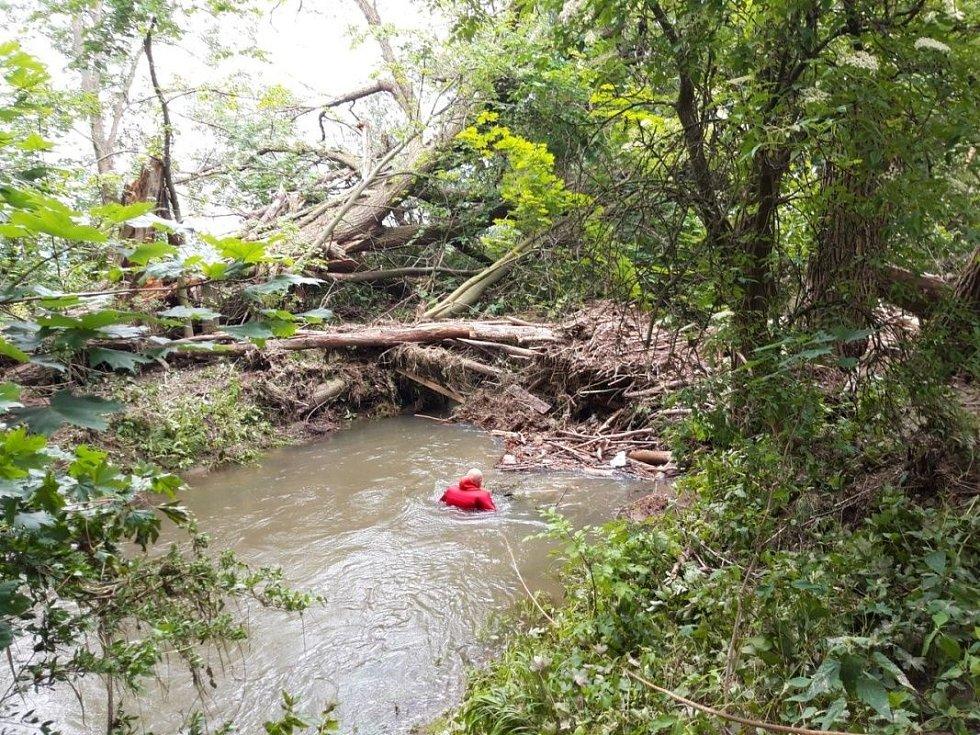 Třetí den pátrání po pohřešované ženě z Oskavy, kterou strhl proud při bleskové povodni. 10. června 2020