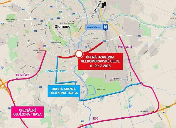 Uzavírka Velkomoravské ulice od 6.do 27.června