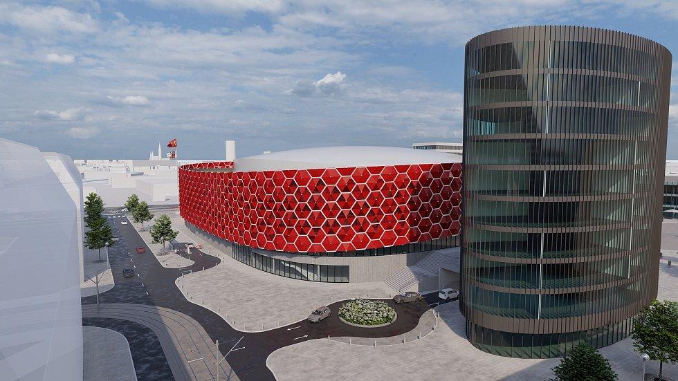 Vizualizace hokejové haly z projektu podnikatele Morávka u Velkomoravské ulice v Olomouci. Spolupracují na něm architektonická studia Obermeyer Helika a ateliér Šuráň