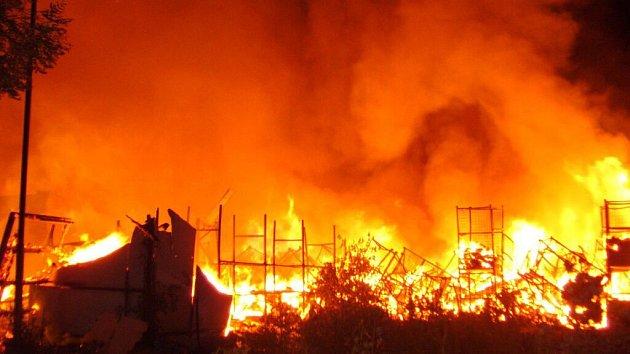 Požár skladu textilu vulici Matěje zJanova vOlomouci