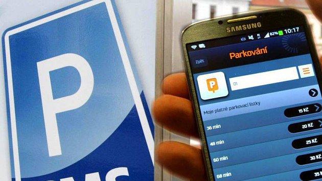 Parkovné přes mobilní aplikaci. Ilustrační foto