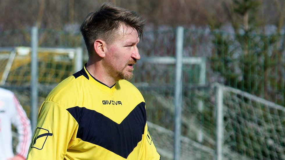 Marek Heinz v dresu divizních Všechovic v zimní přípravě