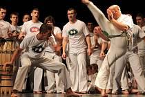 Setkání příznivců brazilského bojového umění capoeira v Moravském divadle Olomouc