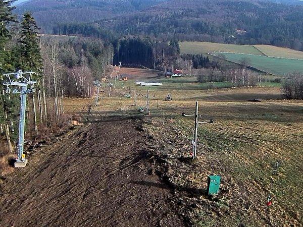 Ski areál Kladky, 19.ledna 2014.Snímek zwebkamery