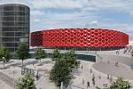 Vizualizace multifunkční haly z projektu podnikatele Morávka u Velkomoravské ulice v Olomouci. Spolupracují na něm architektonická studia Obermeyer Helika a ateliér Šuráň