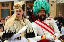 Císař František Josef I. a císařovna Sissi. Oslavy maršála Radeckého na olomouckém Horním náměstí