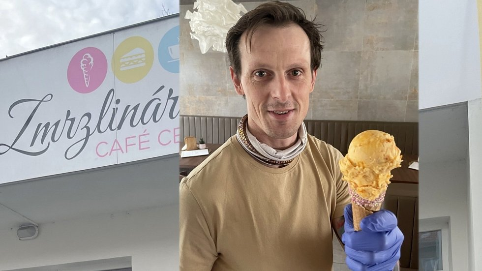 Lukáš Ráb, majitel olomouckého Zmrzlinária Café Centro, s rakytníkovou zmrzlinou, 5. února 2021