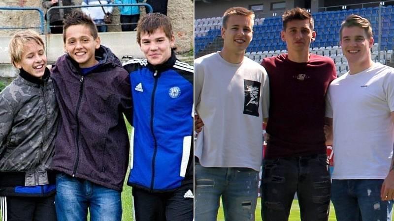 Odchovanci Sigmy Ondřej Zmrzlý, Mojmír Chytil a Pavel Zifčák - vlevo v žákovském věku, vpravo v květnu 2021.