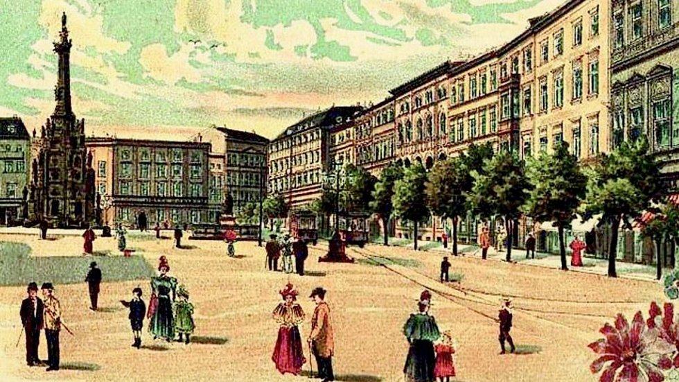 Horní náměstí (Oberring) v Olomouci kolem roku 1900