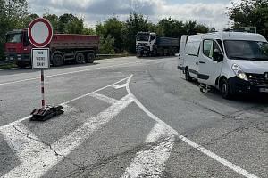Na D35 mezi Olomoucí a Mohelnicí v pondělí začala série oprav sjezdů. Na snímku EXIT 261 Křelov. Uzavřena je levá i pravá rampa, a to do 8. srpna, 26. července 2021