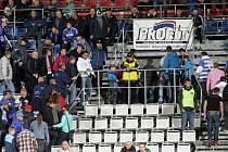 Protest fanoušků Sigmy při zápasu s Jihlavou - odchod z tribuny