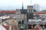 Chrám sv. Mořice. Výhled na Olomouc z administrativní budovy Silo Tower